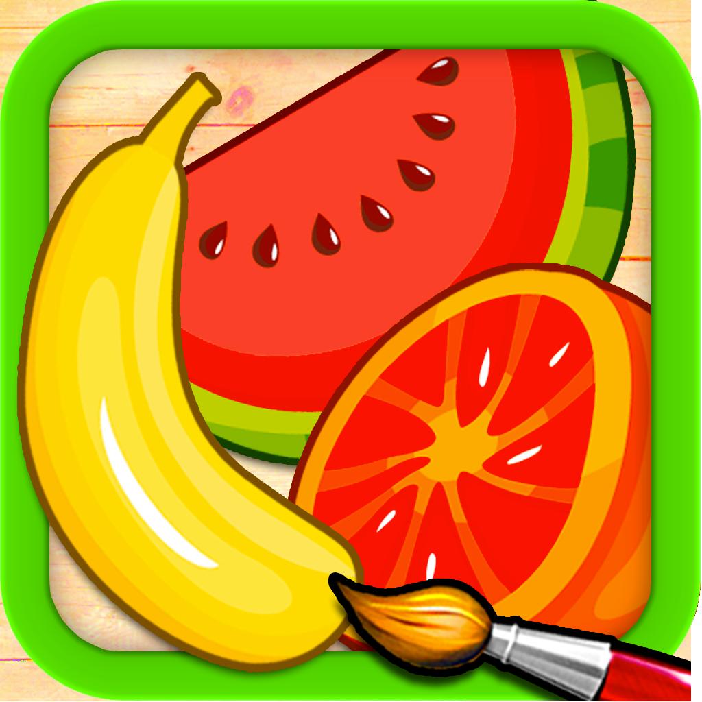 水果和蔬菜 - 拼图和色彩为孩子